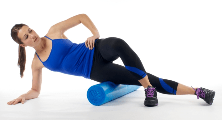 foam rolling on the side of your hips