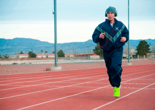 man running on a track