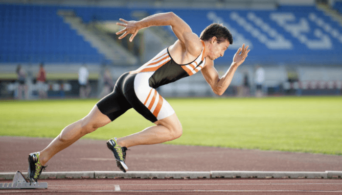 man training on a track