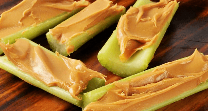 peanut butter in celery sticks